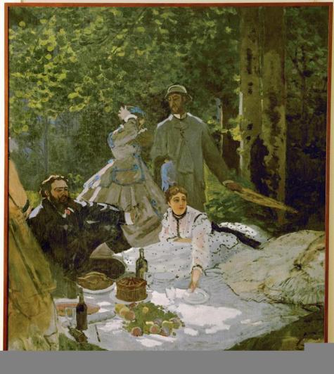 Claude Monet; Le dejeuner sur l'herbe (Luncheon on the Grass); 1865; oil on canvas; 248 x 217 cm