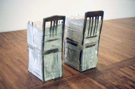 Doris Salcedo; Untitled/Untitled; 1992; cement, steel, cloth, and wood; 38.25 x 17 x 17 inches and 37.5 x 16 x 16 inches