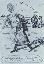 Paula Modersohn-Becker; Pictures of Family Life: Elisabeth Proudly Goes to School; 1905; charcoal and pencil; 21.1 x 14.5 cm