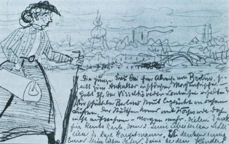Paula Modersohn-Becker; Postcard Showing Artist in Berlin; pencil; 9.2 x 14 cm