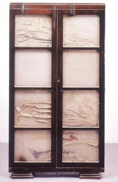 Doris Salcedo; Untitled; 1998; wood, concrete, glass, fabric, metal; 183.5 x 99.5 x 33 cm