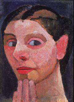 Paula Modersohn-Becker; Self Portrait with Hand on Chin; 1906-7; oil on wood; 29 x 19.5 cm