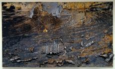 Anselm Kiefer; Burning Rods; 1987; oil, acrylic, emulsion, and shellac on canvas with ceramic, iron, copper wire, and lead; 330.8 x 556.3 cm); Saint Louis Art Museum