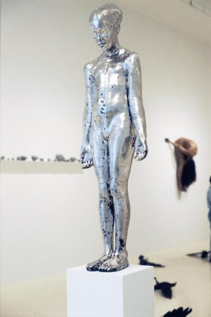 Kiki Smith; Untitled; 1995; bronze with palladium leaf; 48.75 x 16 x 10 inches