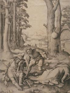 Lucas van Leyden; Mohammed and the Monk Sergius; 1508; engraving; 28-9 x 22 cm