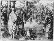 Lucas van Leyden; The Baptism of Christ; 1510; engraving; 142 x 148 mm