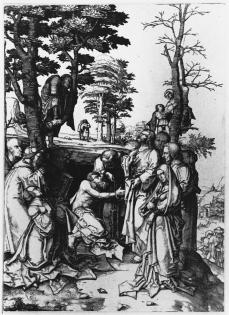Lucas van Leyden; The Raising of Lazarus; 1508; engraving