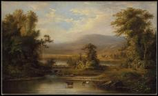 Robert S. Duncanson, Landscape with Cows Watering in a Stream, 1871, Oil on canvas, 21 1/8 x 34 1/2 in. (53.7 x 87.6 cm)