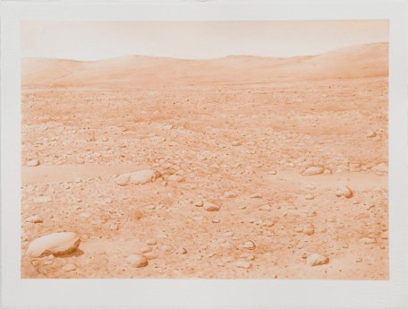 "David Clarkson david Sepia Columbia Hills, Mars (left) ink on paper 2007 22"" x 30"""