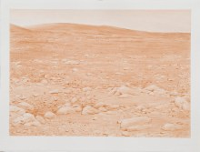 """David Clarkson Sepia Columbia Hills, Mars (right) ink on paper 2007 30"""" x 22"""""""