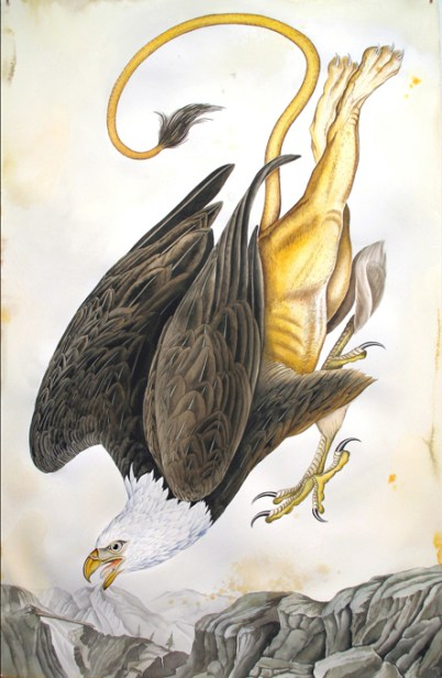 """Justin Gibbens Bird of Paradise XIX- American Griffin Watercolor, graphite, gouache, ink, oolong tea on paper 2008 40"""" x 26"""""""