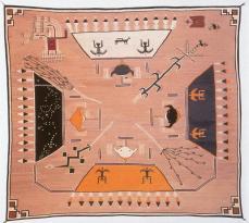 """Navajo Sandpainting Weaving, early 20th C , wool yarn, l.123 1/2"""""""
