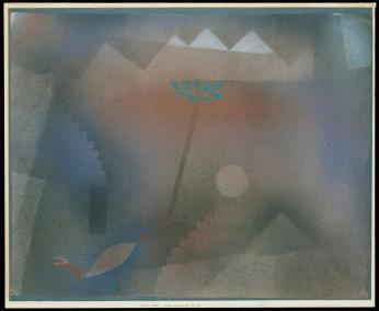 Bird Wandering Off; [Abwandernder Vogel] Date 1926 Material Sprayed and brushed gouache on paper, bordered with gouache Measurements H. 15-7/8, W. 19-1/8 inches (40.3 x 48.6 cm.)