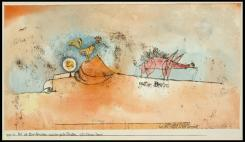 Where the Eggs and the Good Roast Come From; [Wo die Eier herkommen und der gute Braten] 1921 Material Watercolor and transferred printing ink on paper Measurements H. 6-1/8, W. 11-3/8 inches (15.6 x 28.9 cm.)