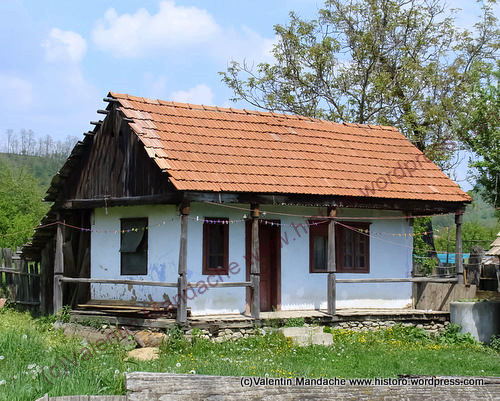 Adobe peasant house from the Oriental Carpathian mountains