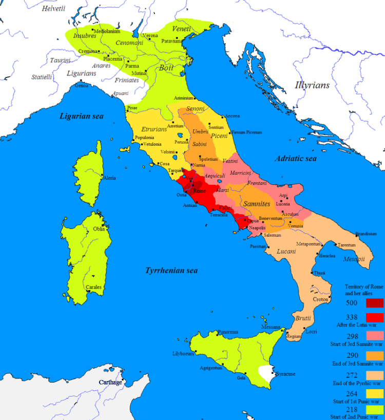 Rome (In Red) during the described timeline (550-290 BC)