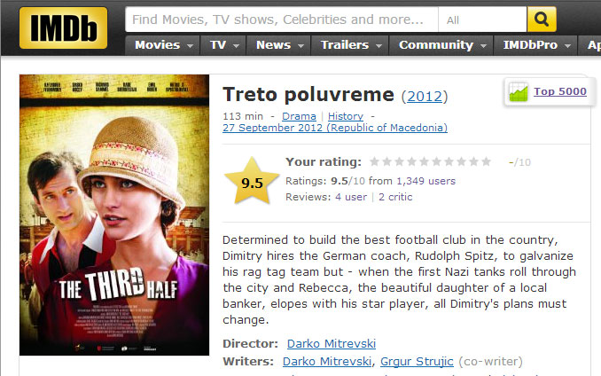 """The third half"" - Μια ταινία που προβάλλει την Σκοπιανική προπαγάνδα στο imdb.com"