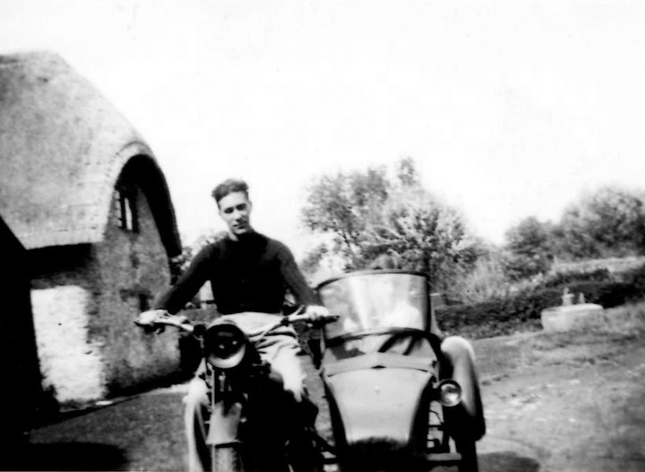 """August 1935. Jim Billings on the Rudge in """"The Opening"""" of 14 Charney (Brook Cottage)."""