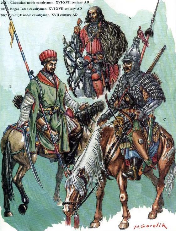 Реконструкция знатных ногайских и калмыцких воинов (по М.Горелику)