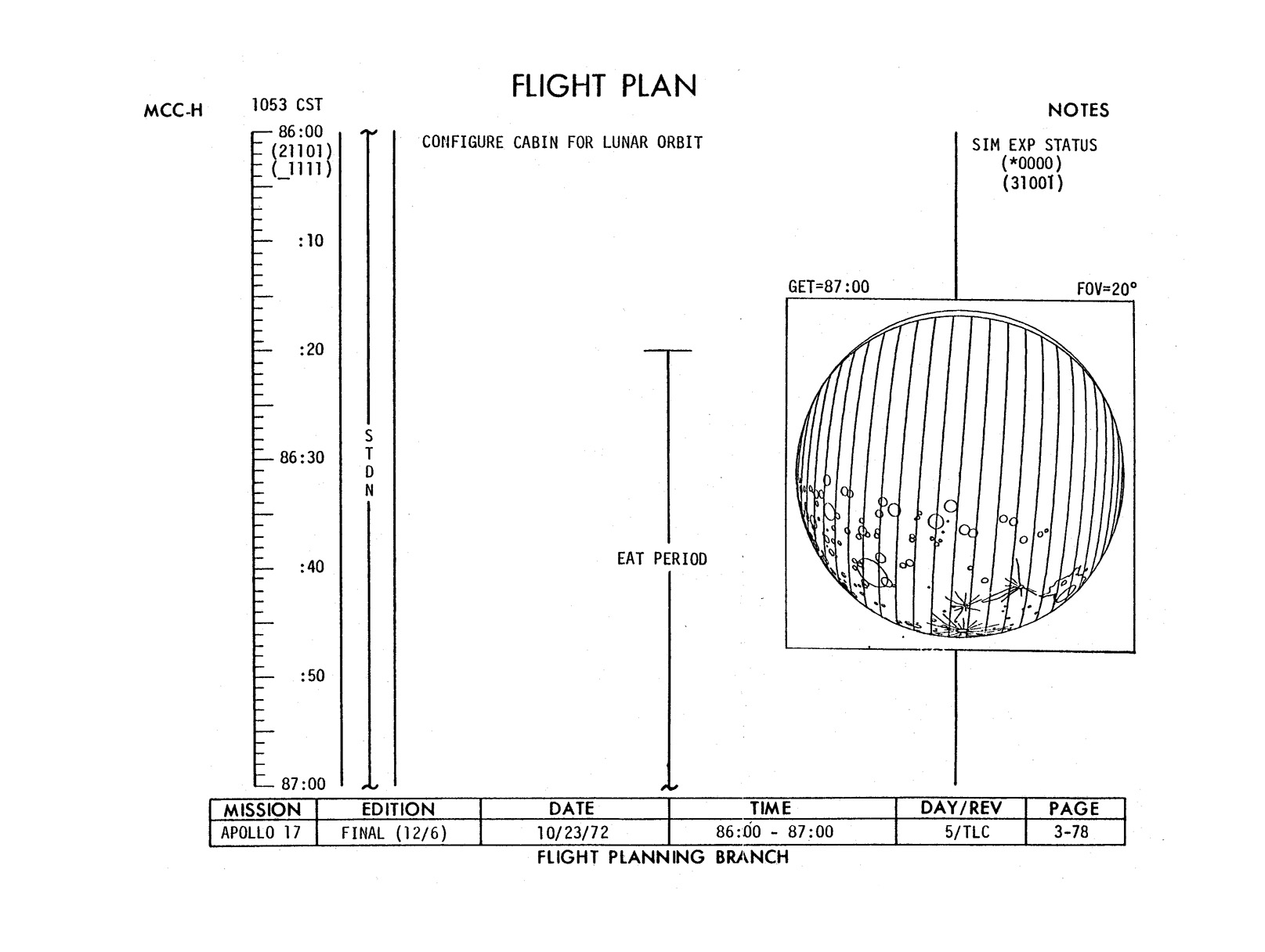 hight resolution of diagram from page 3 78 of the flight plan that shows how fine a crescent the moon is presenting