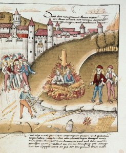 The burning of the knight Richard Puller von Hohenburg with his servant before the walls of Zürich, for sodomy, 1482