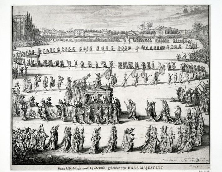 The funeral procession for Queen Mary II.
