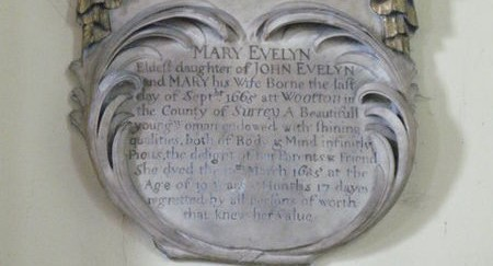 Monument to Mary Evelyn in St Nicholas Church, Deptford.