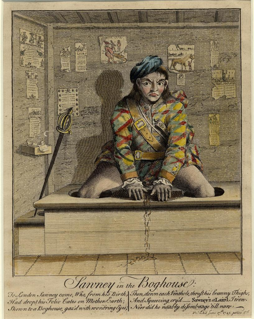 Scotsman sitting on a toilet, 1745.