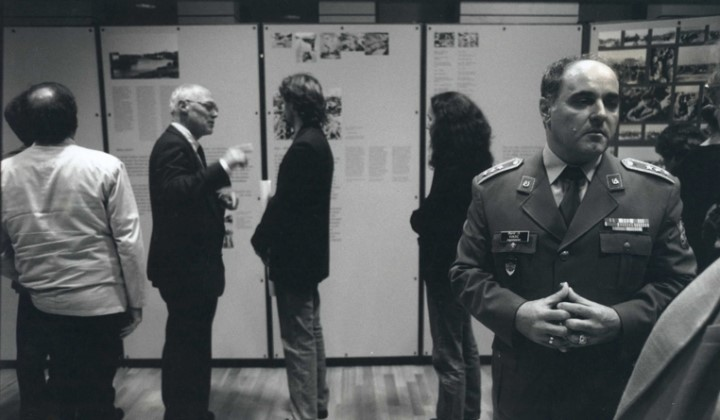 Visitors to the exhibition War of Annihilation: Crimes of the German Wehrmacht 1941 to 1944 held from 1994-9 by the Hamburg Institute for Social Research