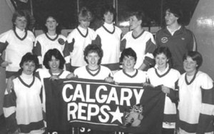 CALGARY BELLES 1983-84 Back Row (l to r) Terry Crouse, Sue Chudleigh, Lisa Brown, Maryellen Johnston, Jackie Willis, Linda Tippin (coach) Front Row: Marnie Strachen, Holly Lees, Maureen Hans, Laurie Moore, Tracey Wake, Sue Rutherford