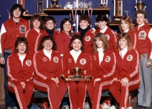 CALGARY DEBS PROVINCIAL CHAMPS 1983-84 Back Row (l to r) Bob Veale (coach), Leanne Henderson, Lucie Anne Ingoldsby, Nicole Richard, Paula Long, Carmen Bell (Skelton), Chris Morton, Mardelle Boutin (manager) Front Row: Kim Cramm, Beth Little (Veale), Marlayne Boutin (Brandsgard), Cara Brown, Brenda Barth. Missing: Linda Tippin (Anderson)