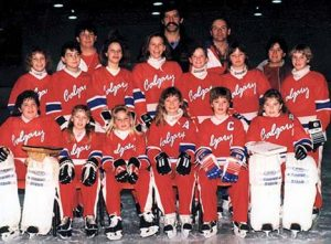 CALGARY PETITE AA DEVILS 1988-89 First Row: Sandy McNeil, Michelle Chapeski, Michelle Grusie, Kaila Gatfield, Allison Johnson, Jodi Jensen Middle Row: Kelly Pruden, Trisha Mele, Krista Horkoff, Robyn Richards, Karla Skog, Alissa Sills, Mandy Schroder Back Row: Les Pruden (Coach), Bill Mele (Manager), Doug Schroder (asst Coach), Debbie McNeil (Manager)