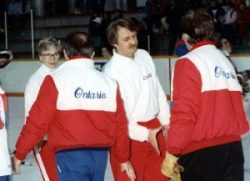 Deb Coaches Frances Willis and Wally Kozak shake the hands of the Ontario coaches after the gold medal game.