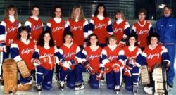 1990 Canadian Ringette Champions - Calgary Debs Back: Cara Brown, Shauna Flath, Holly Reeves, Michele Little, Dora Kemper, Sheri Fountain, Lisa Brown, Wally Kozak. Front:Maureen Hans, Susan Curran, Tami Ironside, Jodi Steer, Tanya Ring, Kim Stepaniuk, Deb Marek