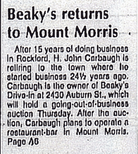Beaky's Returns To Mount Morris