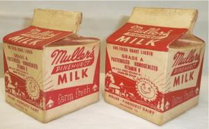 Milk cartons from Muller-Pinehurst Dairy