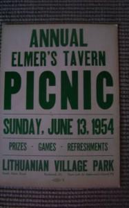Elmer's Tavern Picnic Poster, June 13, 1954