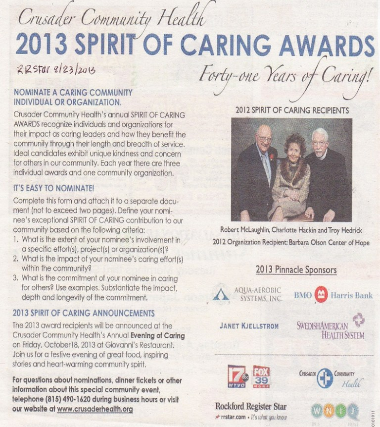 Spirit of Caring Award 2012