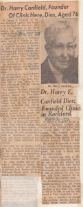 Dr. Harry Canfield obituaries, 1952