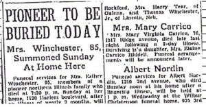 Esther J. Winchester obituary, 1936