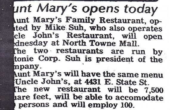 Aunt Mary's Restaurant