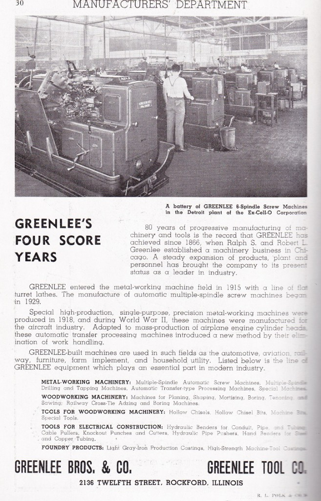 Greenlee Bros and Co 1947