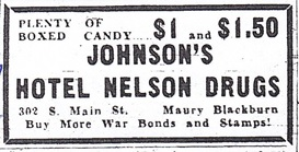 Hotel Nelson Drug Store ad
