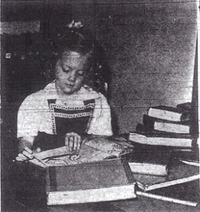 Sandra Jean Berg is a Model Library Patron at age 4, 1944