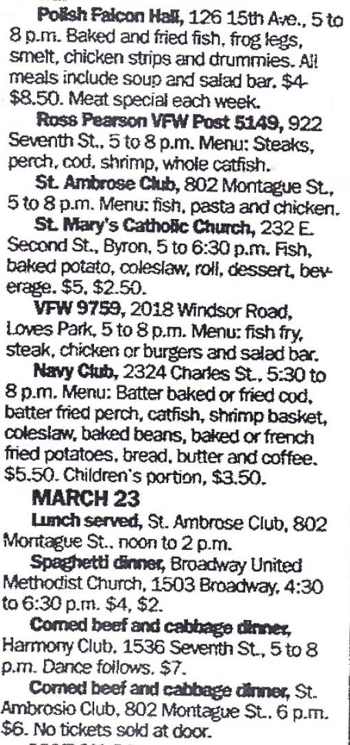 Club Food March 22