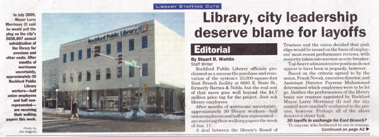 Rockford Public Library Layoffs, 2010