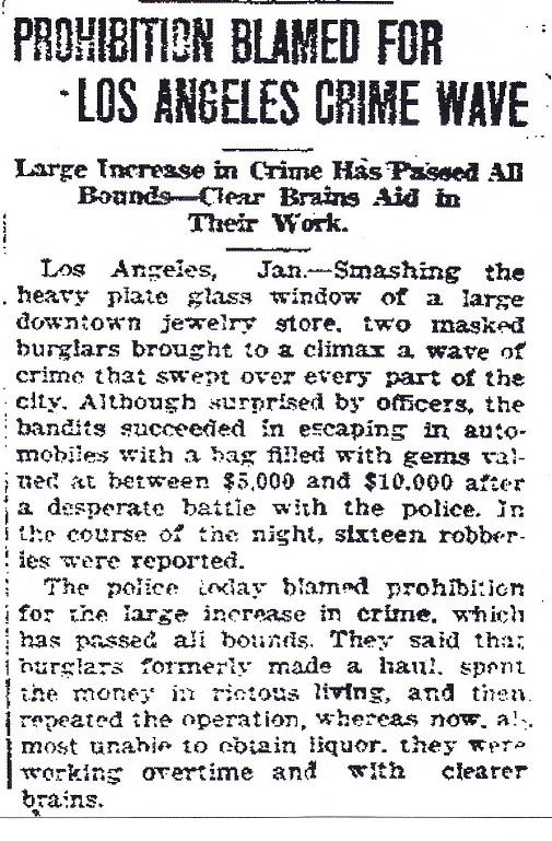 Prohibition Blamed