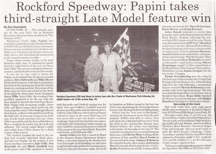 Rockford Speedway Alex Papini