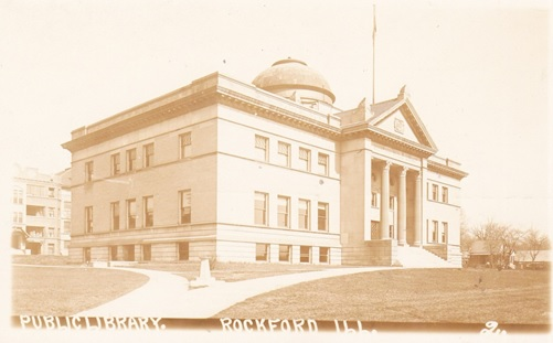 Rockford Public Library 1912 postcard