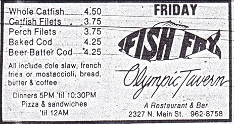 Olympic Tavern Fish Fry Ad